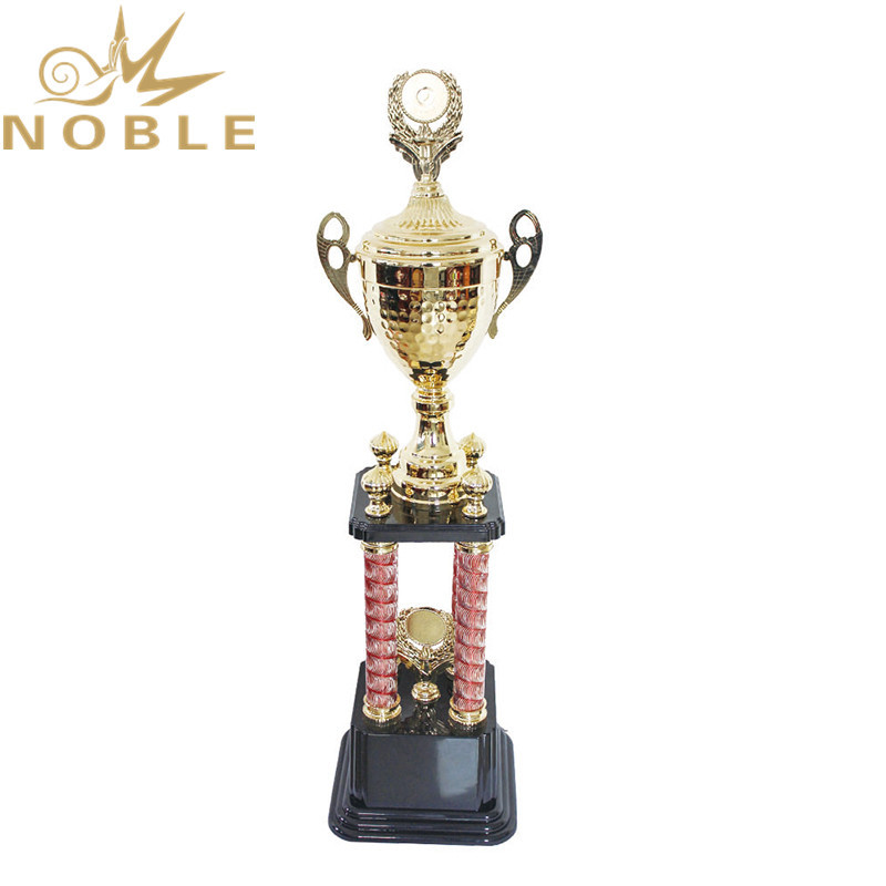 Three Different Sizes High Quality Four Column Metal Trophy