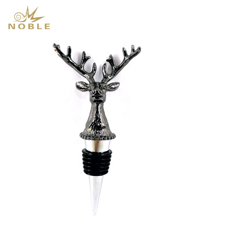 Popular New Design Custom Wedding gift Animal Deer Head Metal Wine Bottle Stopper