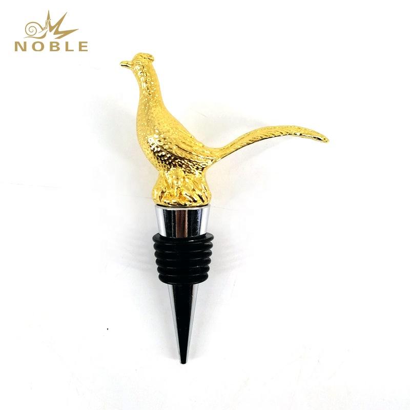 Popular 3D Animal Figurine Custom Metal Pheasant Wine Stopper