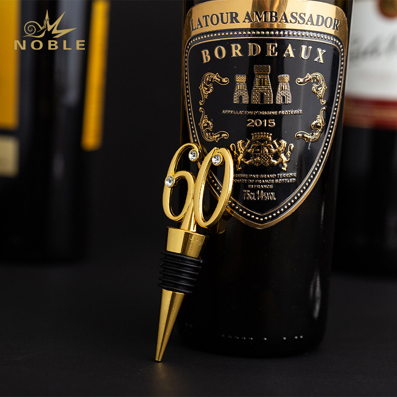 Amazon Hot Sell Zinc Alloy Wine Bottle Stoppers as Return Gift for 60 Years Old Parties