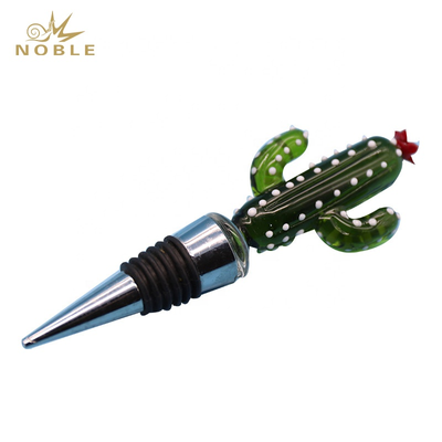 Custom Art Glass Figurines High Quality Bottle Wine Stopper As Business Gifts