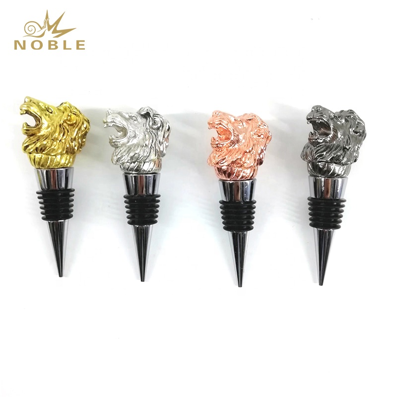 Best selling Custom Animal Figurine Metal 3D Lion Head Wine Bottle Stopper for Souvenir Gifts