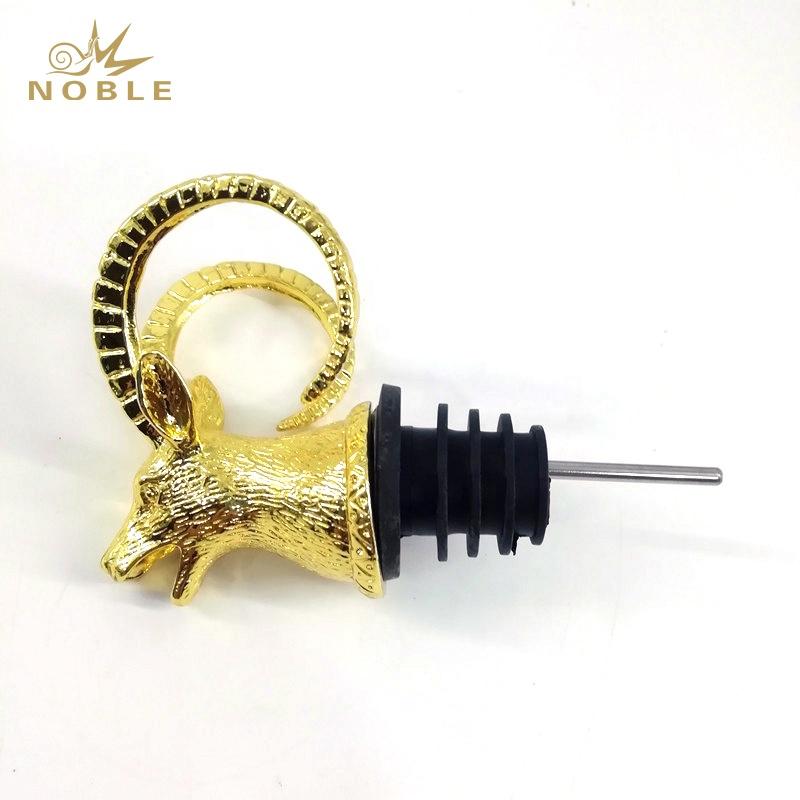 Best selling Custom Animal Figurine Metal Antelope Head Wine Pourer as Wedding Gifts