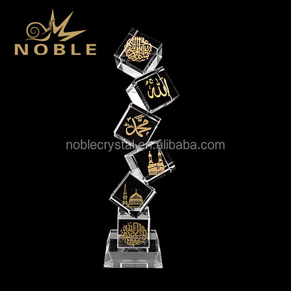 Unique Customized Corporate Engraved Crystal Six Cube Award Trophy as Islamic Souvenir Gifts