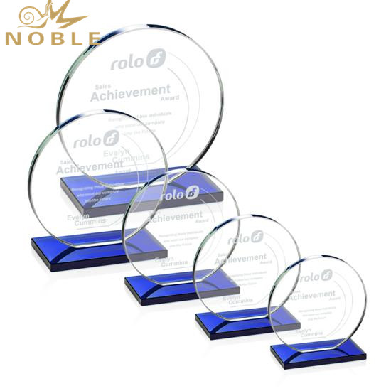 Custom Engraved Round Crystal Plaque Trophy
