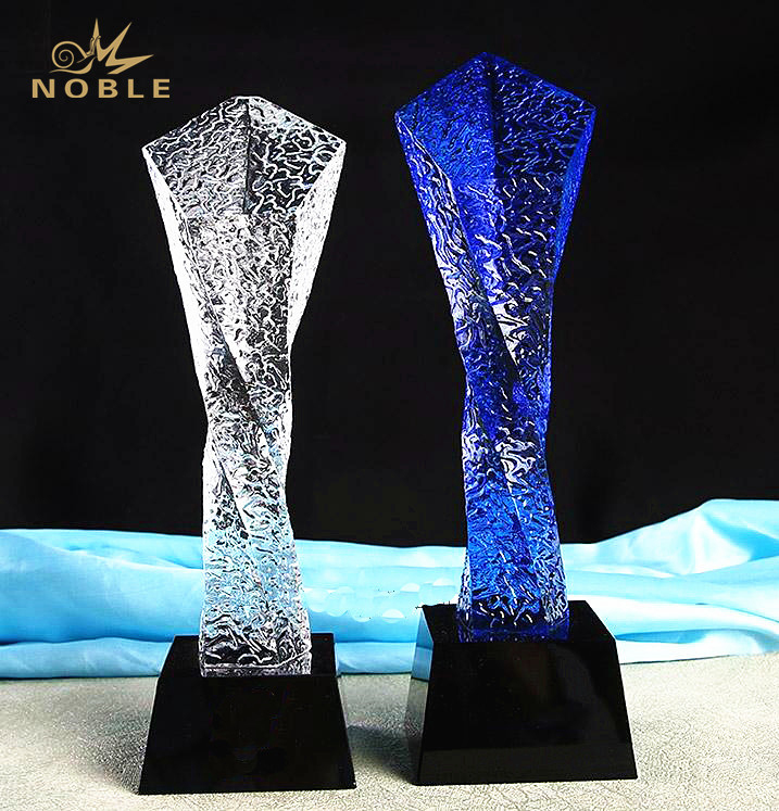 New Design Etched Colored Crystal Twisted Column Trophy