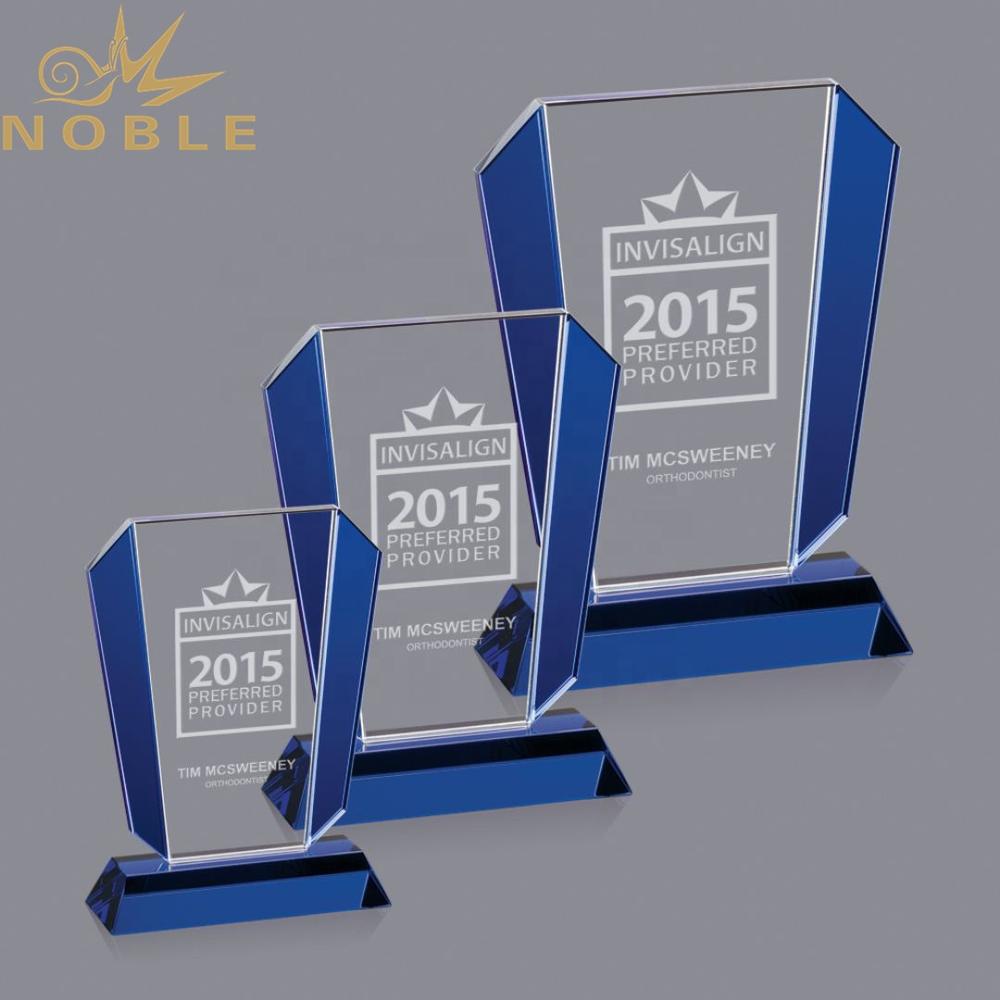 Noble High Quality Custom Blue Crystal Plaque Award