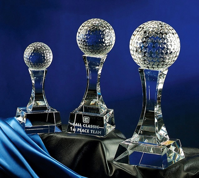 Noble High Quality New Design Hot Selling Glass Sports Award Crystal Golf Trophy