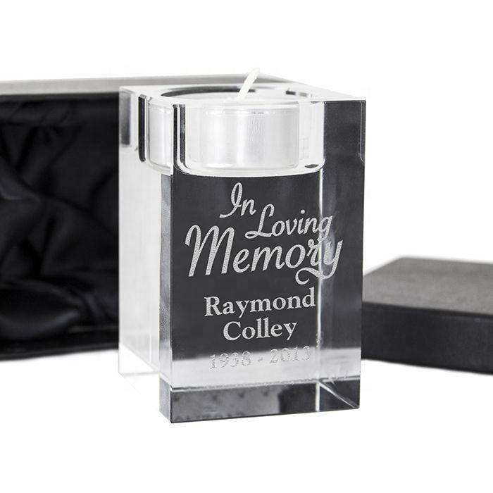 Custom Engraved Crystal Loving Gifts Tea Light Candle Holder