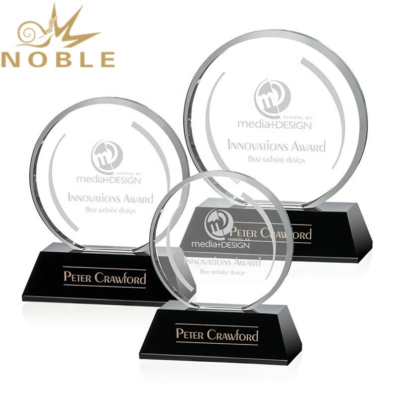 Custom Round Crystal Plaque Award on Black Base