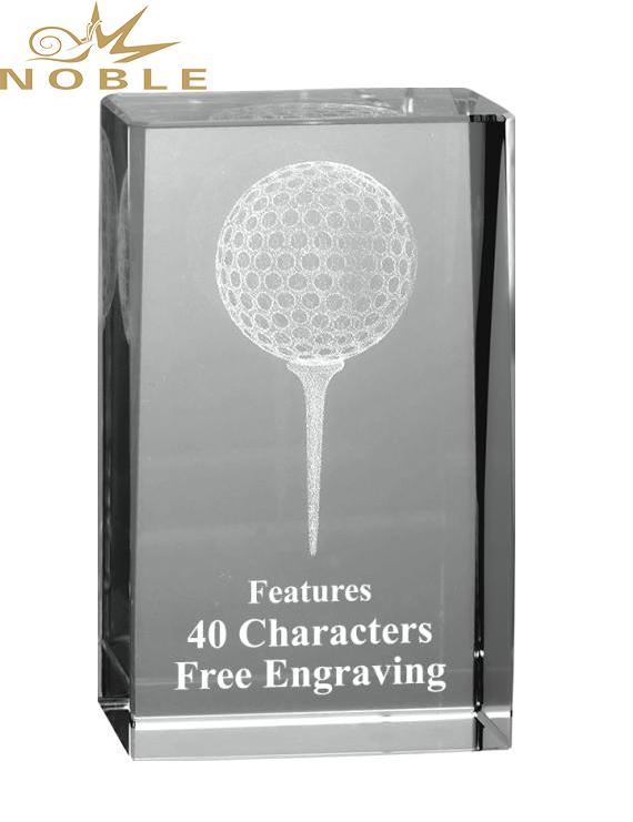 3D Laser Engraving Crystal Cube Award Custom Crystal Golf Trophy