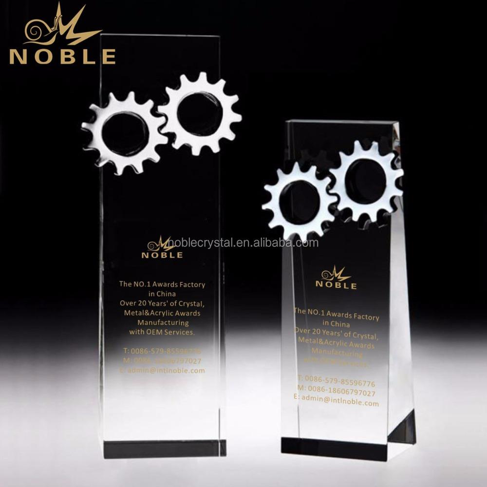 High Quality Custom Teamwork Award Crystal Wedge Trophy