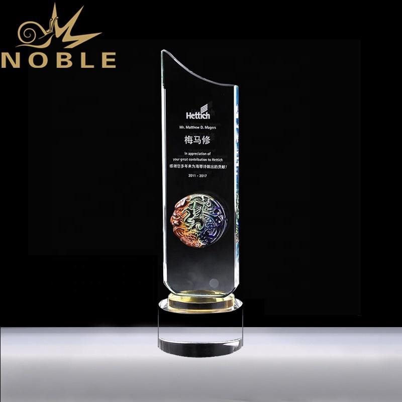 Luxury design Liu Li glass custom crystal plaque award