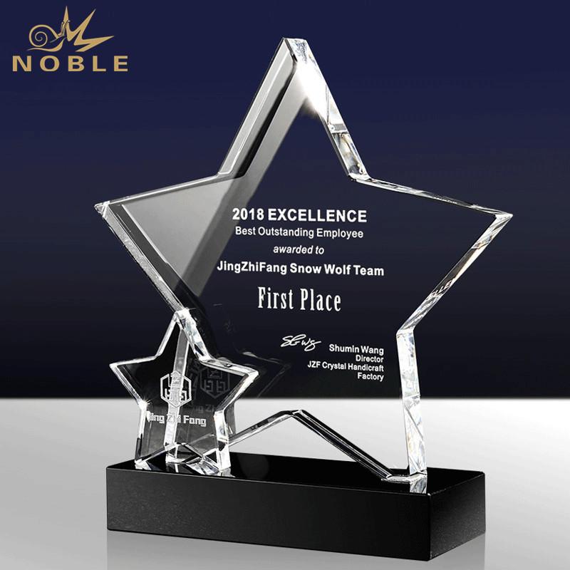 New Design Clear Star Crystal Custom Award Trophy