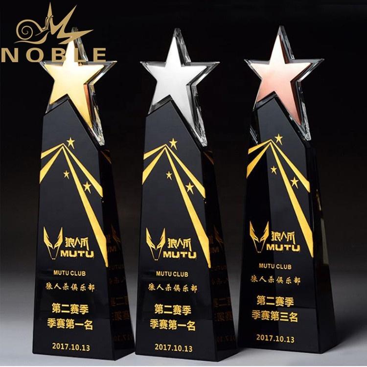 new design high quality custom crystal wedge award with metal star