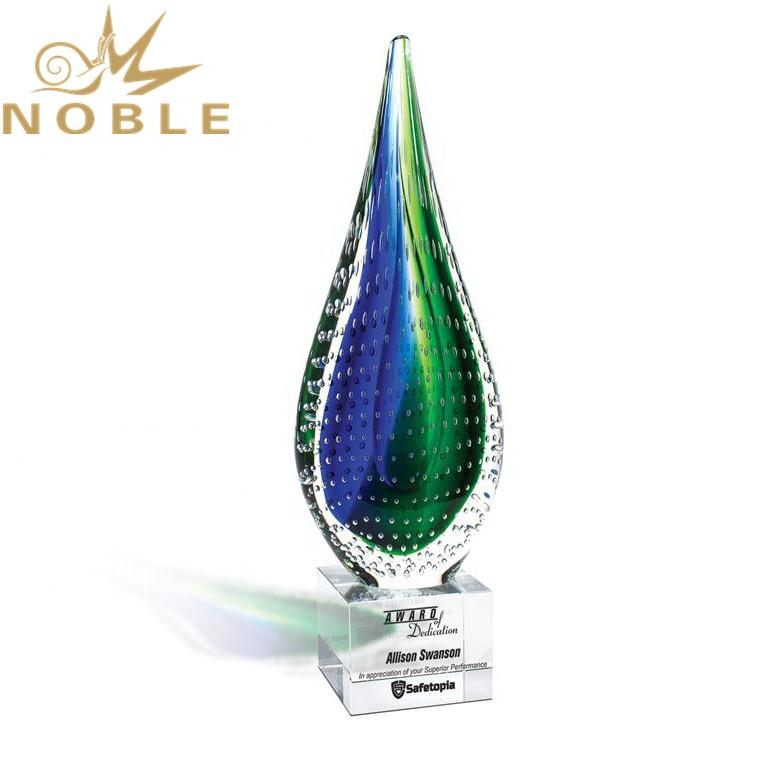 Excellent New Design Custom Hand Blown Tear Drop Shape Art Glass Award Trophy