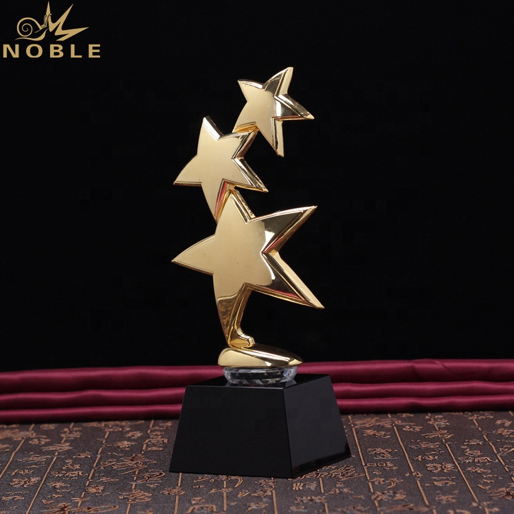 Wholesale Trophy Custom Metal Star Awards with Crystal Base