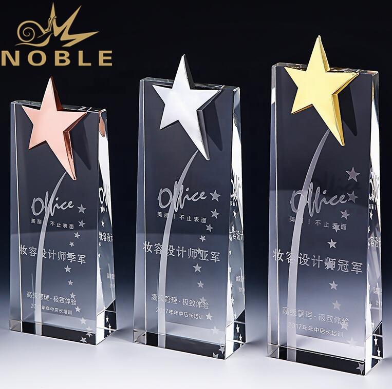 Noble New Design Star Trophy Crystal Wedge Award