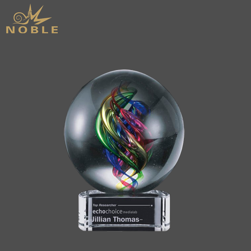 Color Rage Hand Blown Art Glass Award Globe