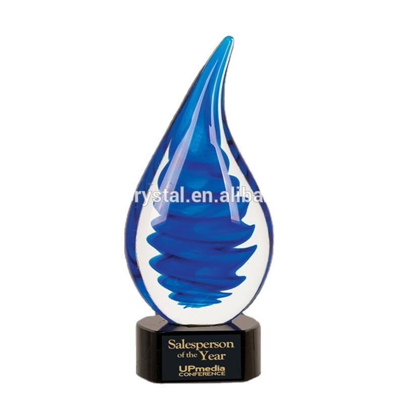 High Quality Blue Tornado Art Glass Hand Blown Award Trophy