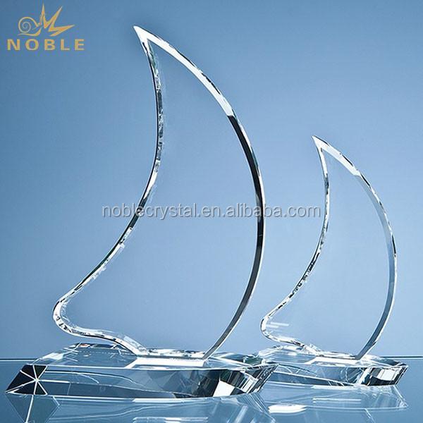 Nautical Theme Custom Crystal Sailing Boat Trophy
