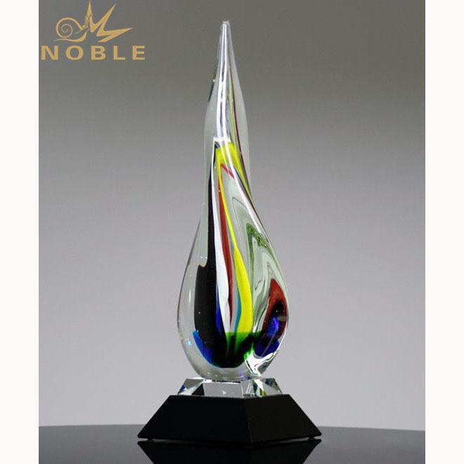 Noble Hot Sale Teardrop Colorful Hand Blown Art Glass trophy