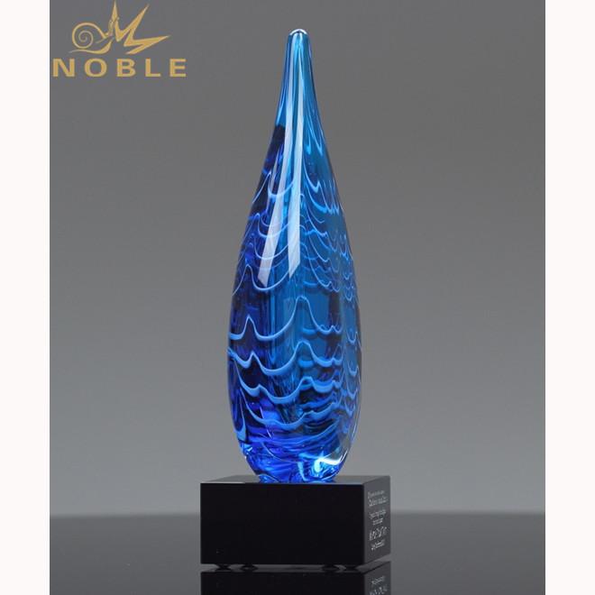 Waterdrop Award Hand Blown Art Glass with Black Base