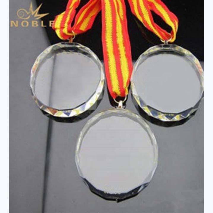 Noble high quality Laser engraving Custom Crystal Running Medal