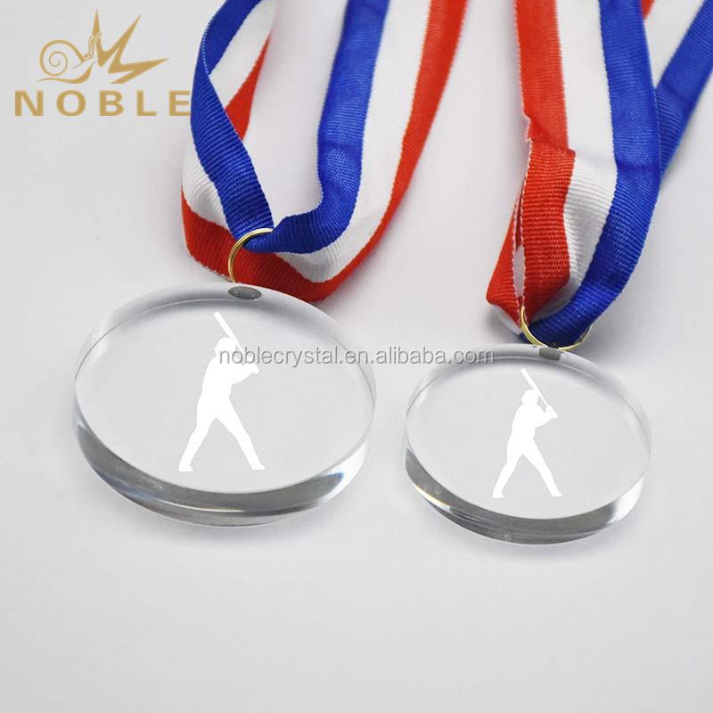 Noble Round Shape Sports Event Custom Crystal Souvenir Medal