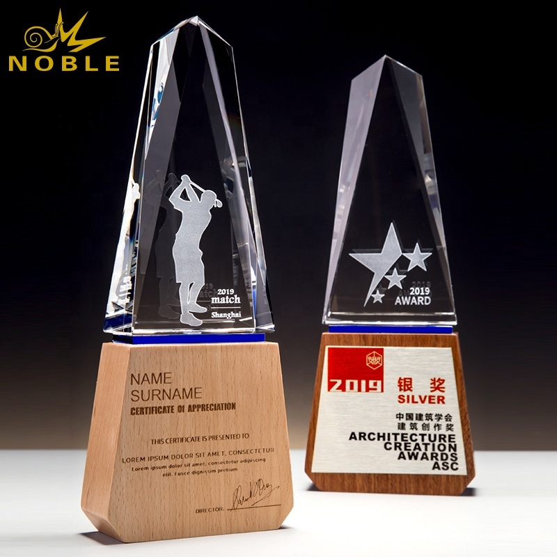 custom crystal award trophy with wood base