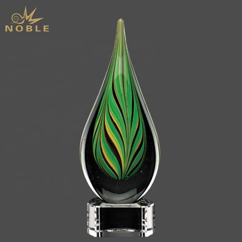 Custom Engraving Hand Blown Art Glass Trophy