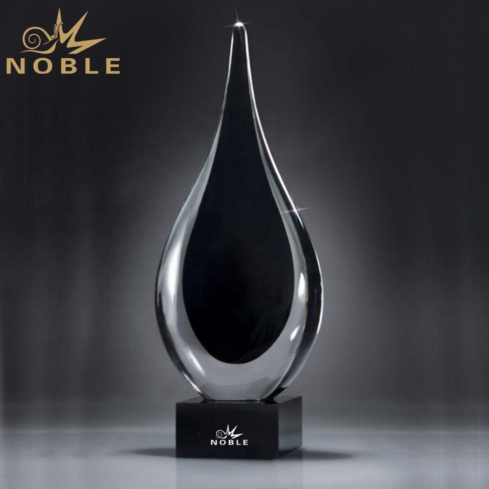 Elegant Black Color Art Waterdrop Hand Blown Art Glass Trophy