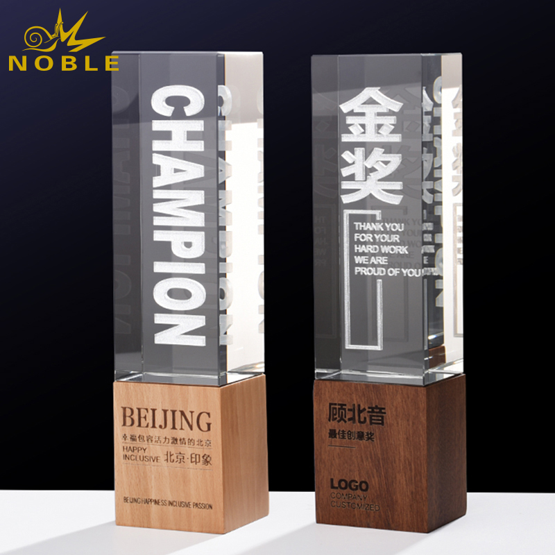 Wooden Trophy Award Wood Base Craft High Quality Custom Crystal Plaque