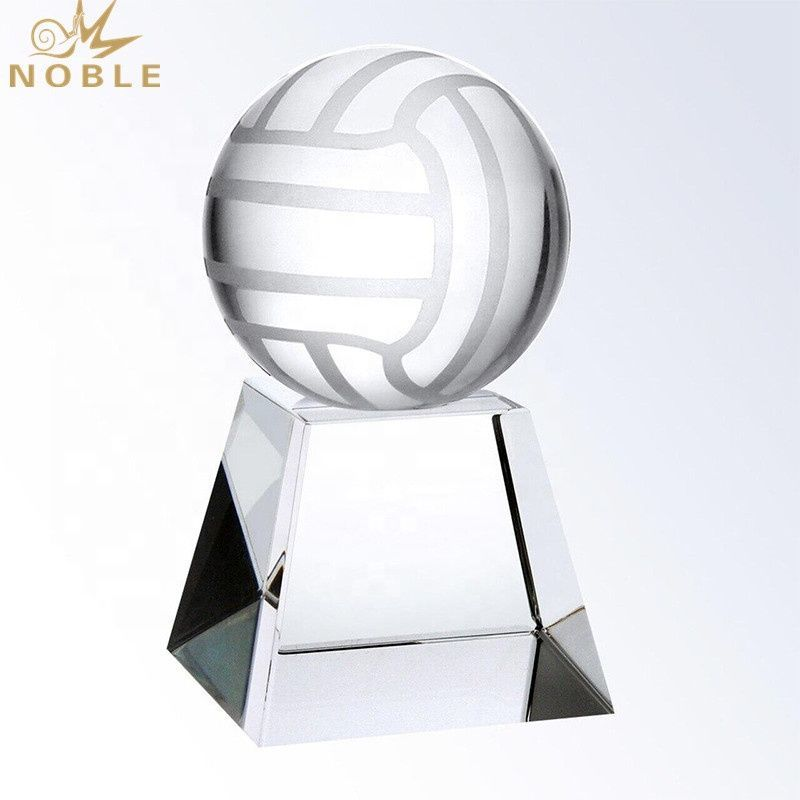 100mm diameter Optical sports ball trophy accessory crystal volleyball