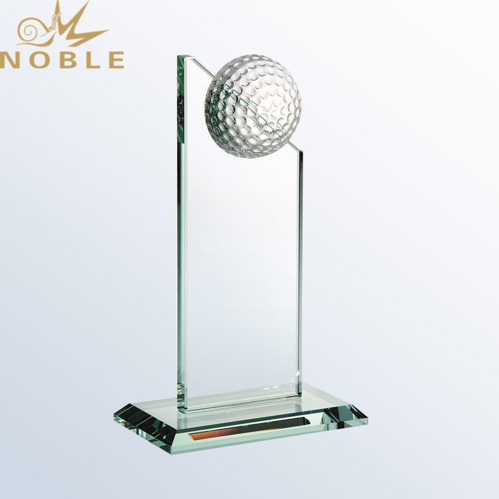 Free engraving High Quality Custom Sports Glass Golf Trophy