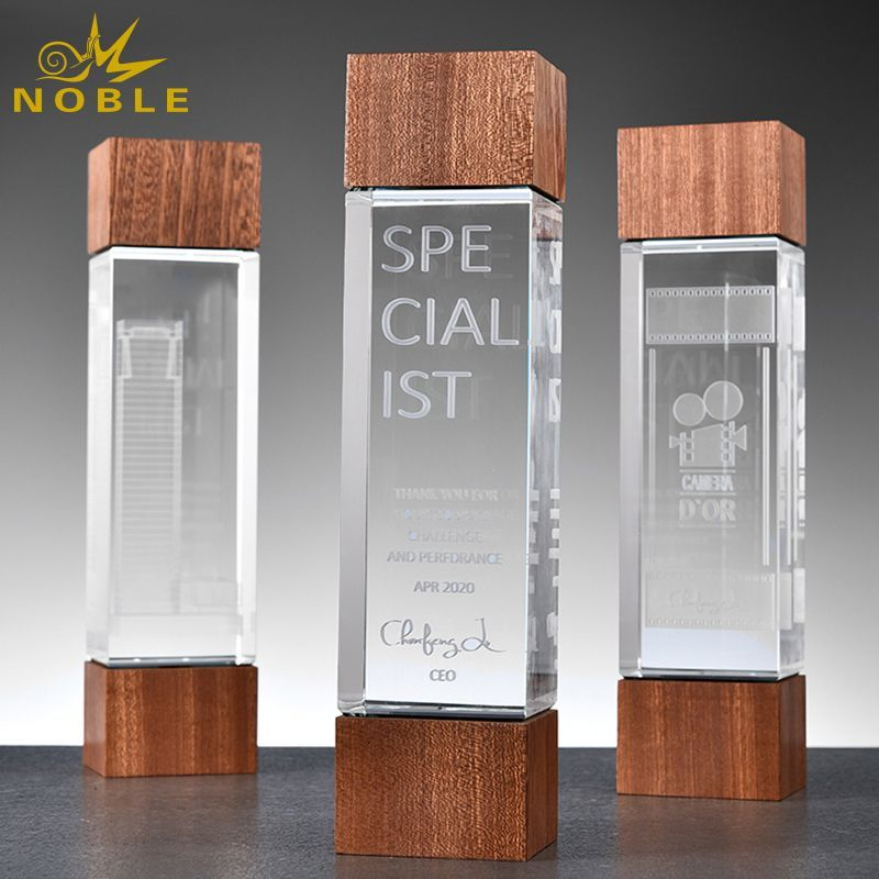 New Style 3D Laser Crystal Wooden Trophy Award