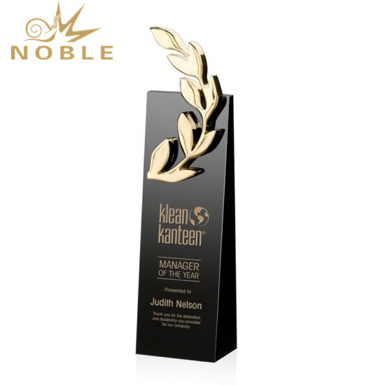 China Wholesale Laurel Wheat Award Black Crystal Trophy