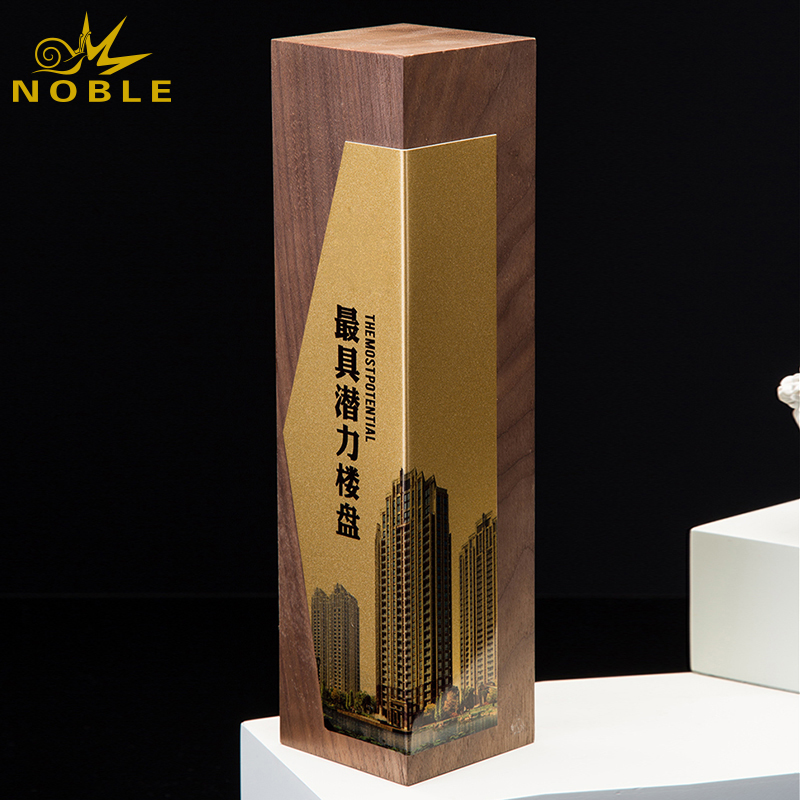 Custom new design wooden award trophy with metal plate