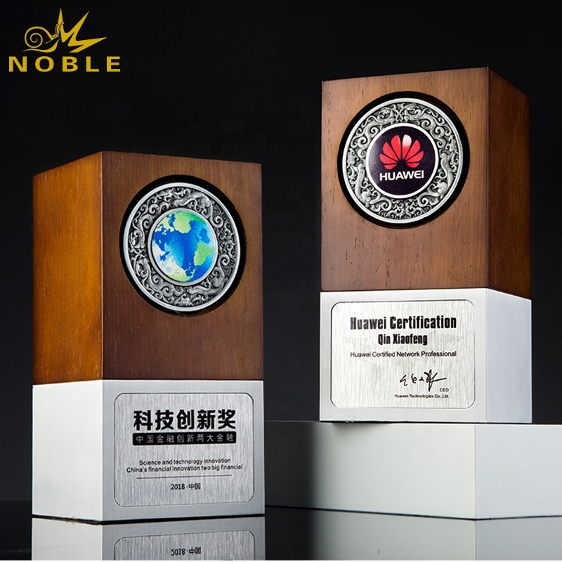 Noble custom metal base wood trophy with medal inserting