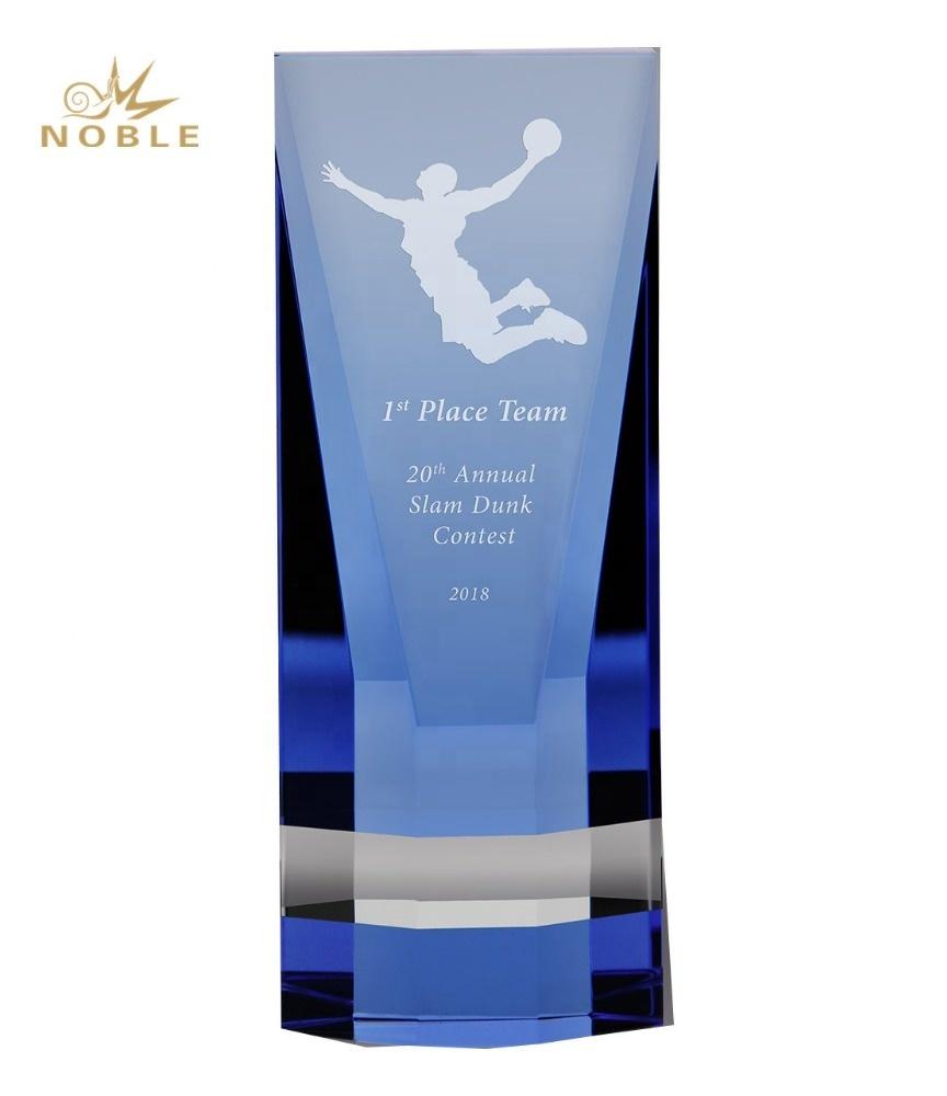 Custom Engraved Blue Crystal Cobalt Wedge Block Basketball Trophy