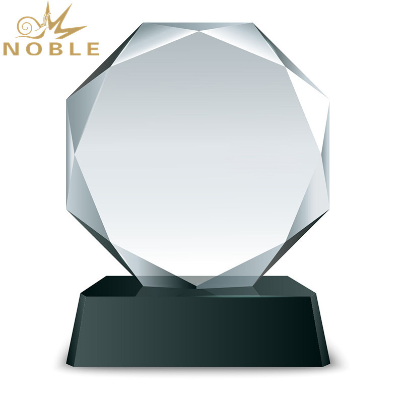 Customized Engraved Faceted Round Crystal plaque Trophy As business gift