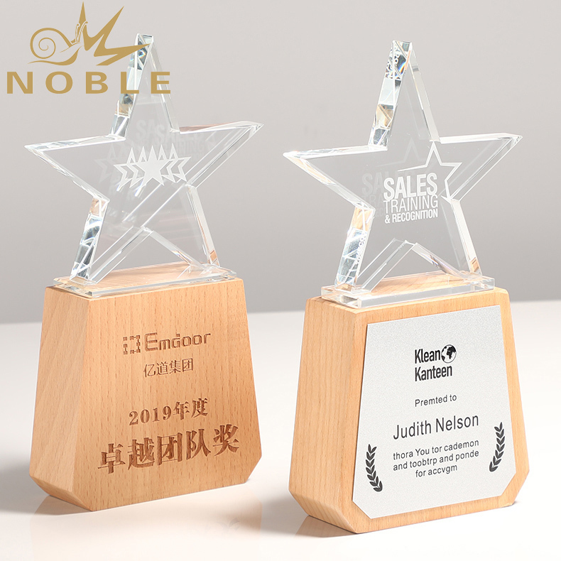 4 Free Engraving High Quality Crystal Star Trophy with wooden base