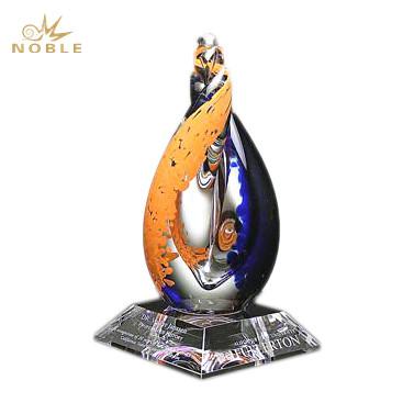 Bespoke Glass Art Craft Trophy Hand Blown Glass Award