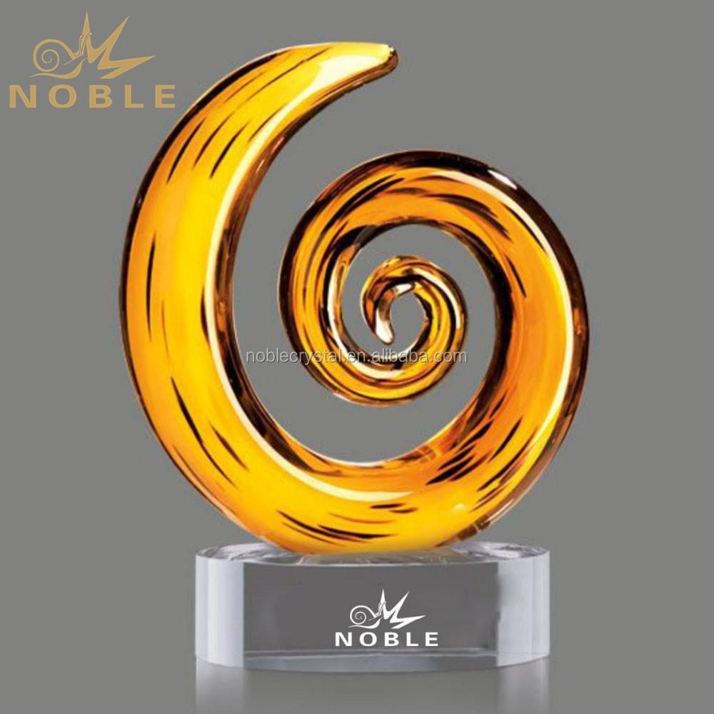 Arabic Spiral Crystal Craft Wholesale Hand Blown Glass Home decoration custom art glass award