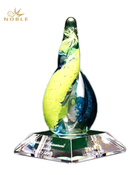 High Quality Hand Blown Custom Color Art Glass Trophy Awards