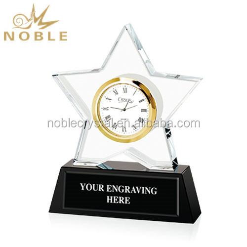 High Quality Souvenir Gift Custom Crystal Star Trophy With clock