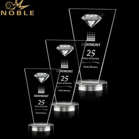 Custom Crystal Diamond Plaque Trophy with Free engraving