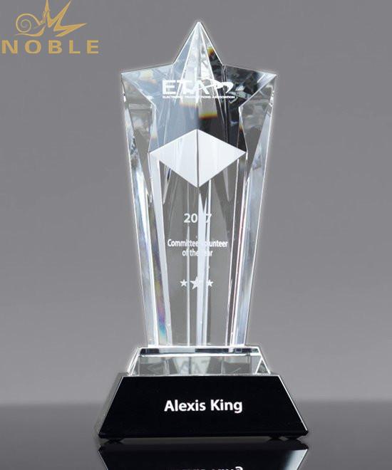 Unique design High quality free engraving Custom Crystal Star Award