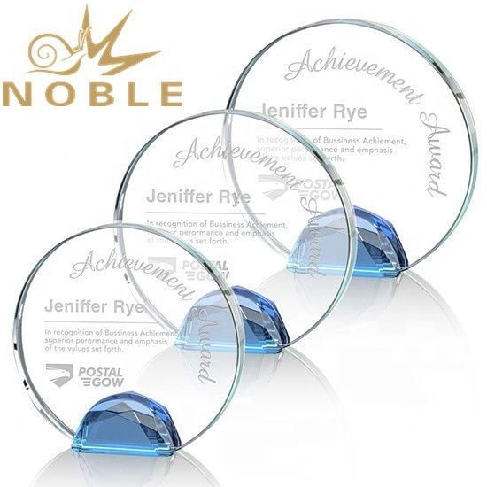 Custom Engraving Optical Crystal Award with a sparkling multifaceted Blue Optical crystal base