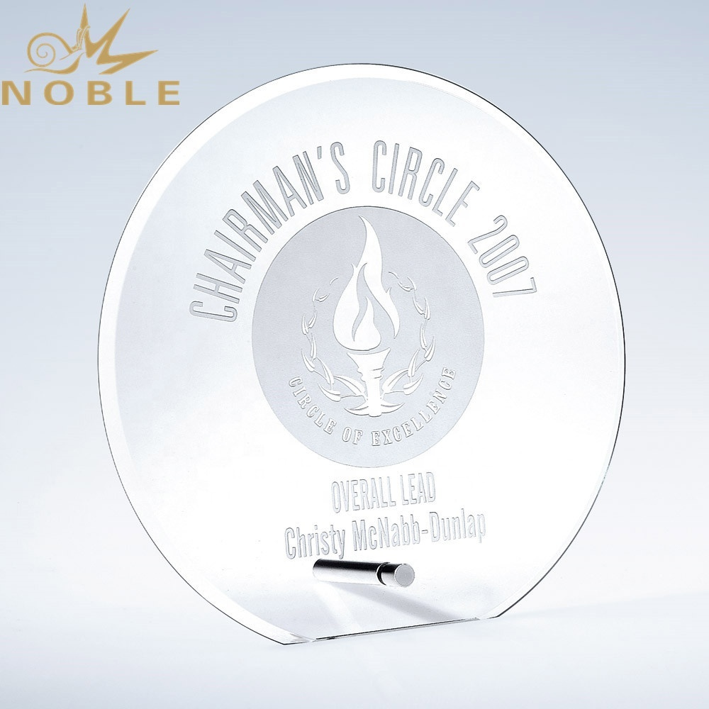 Noble new design custom jade glass plaque trophy with metal pole